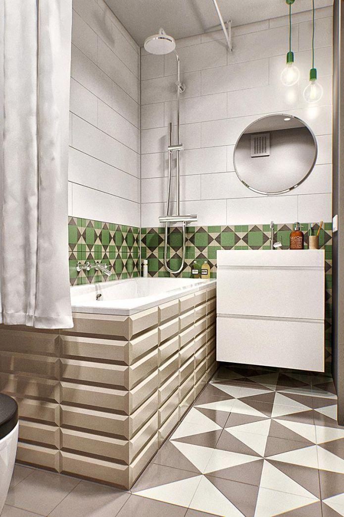 Ванная маленькой квартиры-студии в Москве