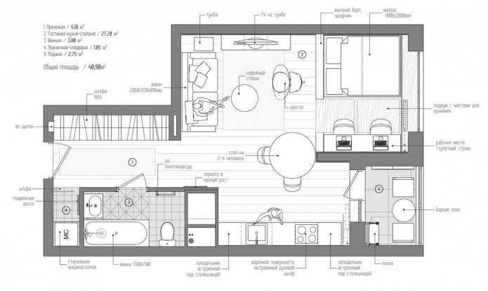 Планировка маленькой квартиры-студии в Москве