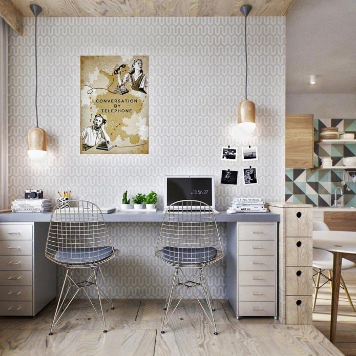 Кабинет маленькой квартиры-студии в Москве