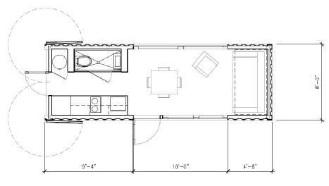 Cовременный дом из контейнеров. План дома