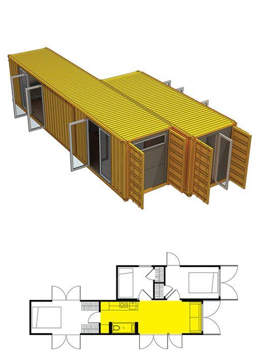 Cовременный дом из контейнеров. Вариант дома из 2 модулей