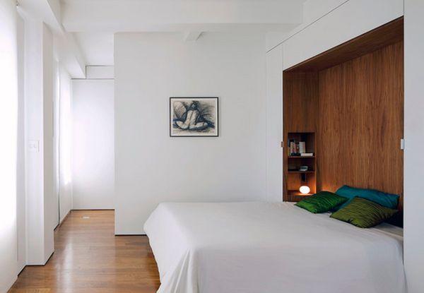 Раскладная кровать Murphy в минималистичном интерьере