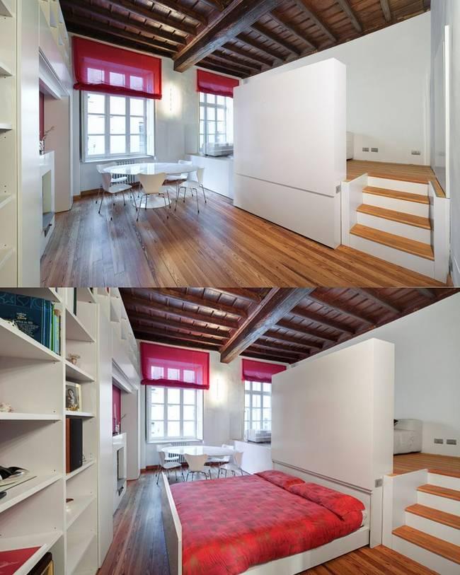 Спрятанная кровать в квартире с подиумом