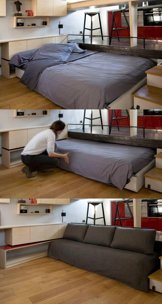 Спрятанная кровать в квартире-студии