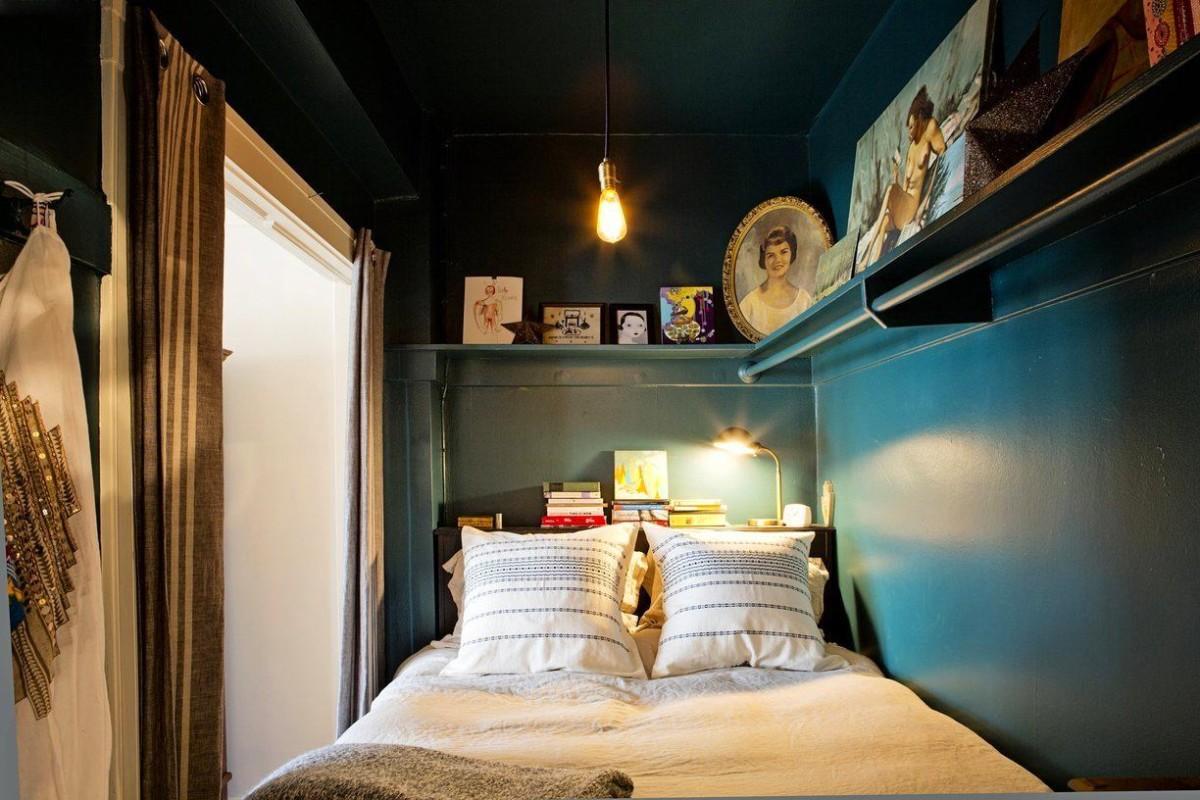 Маленькая спальня в тёмном цвете