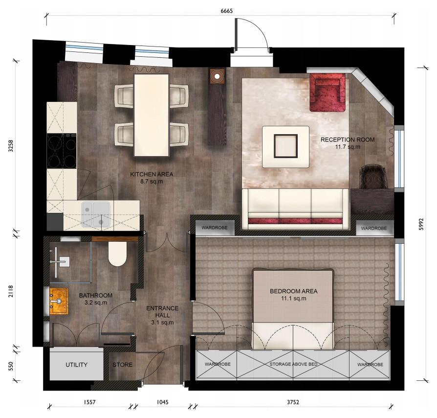 Планировка стильной малогабаритной квартиры