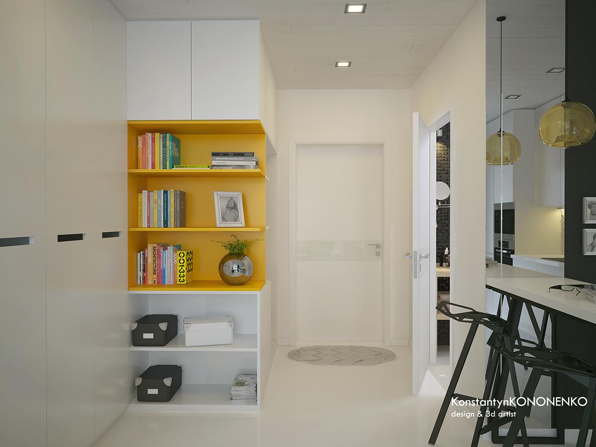 Интерьер маленькой квартиры в контрастных тонах - обеденная зона