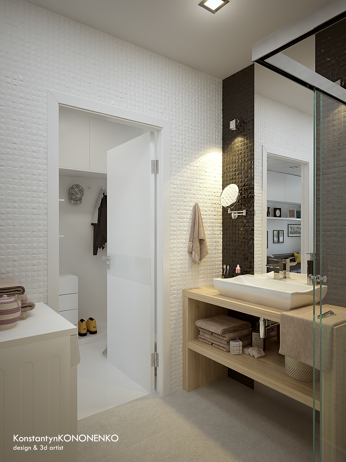 Интерьер маленькой квартиры в контрастных тонах - ванная