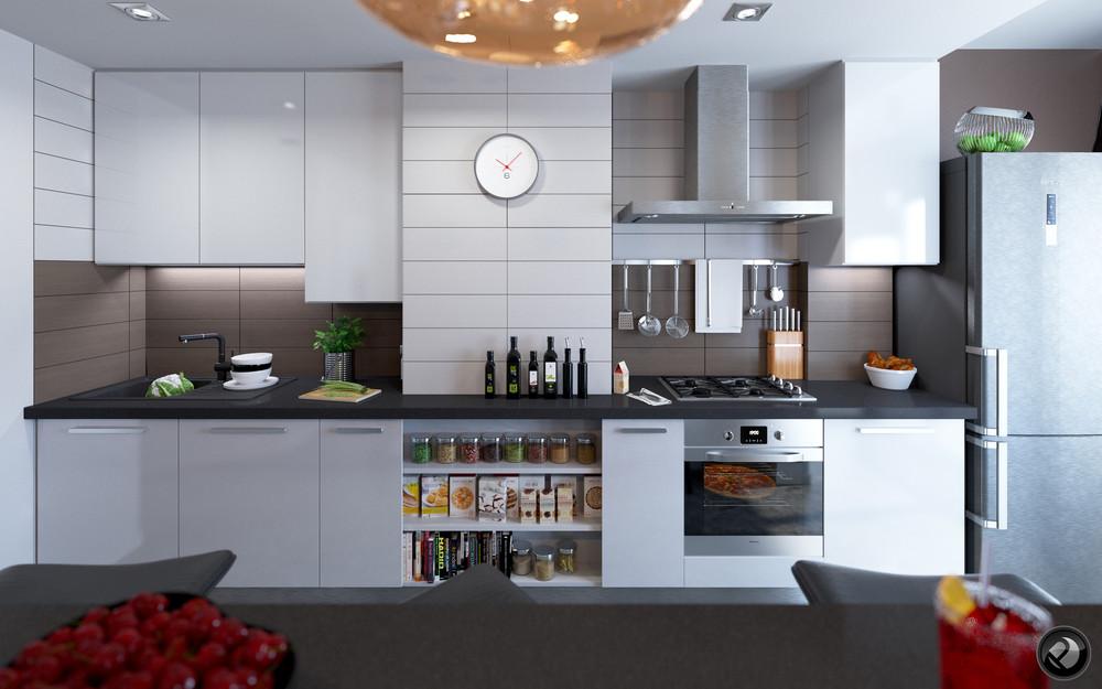 Интерьер маленькой квартиры в светлых тонах - дизайн кухни