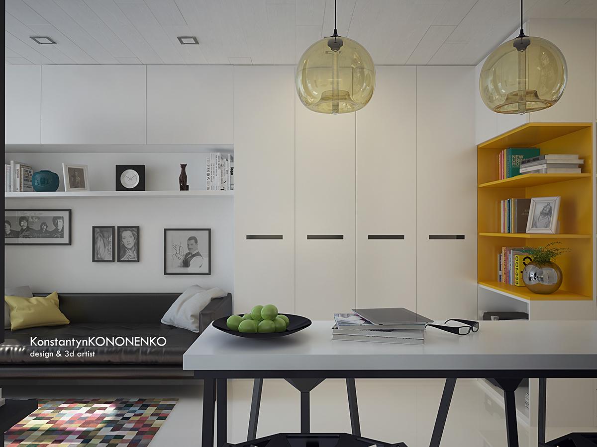Интерьер маленькой квартиры в контрастных тонах - прихожая