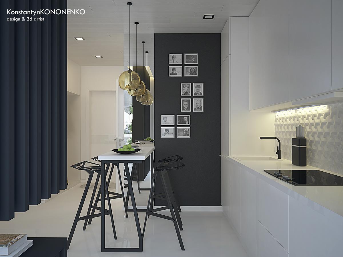 Интерьер маленькой квартиры в контрастных тонах - кухня