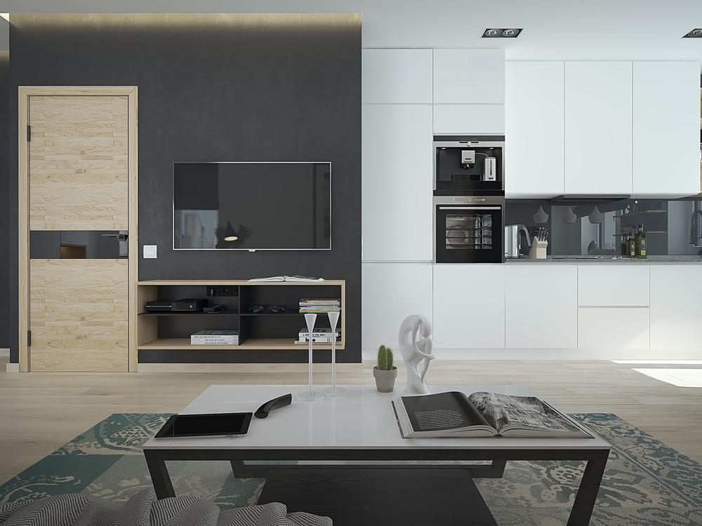 Интерьер маленькой квартиры в контрастных тонах - кухня и гостиная