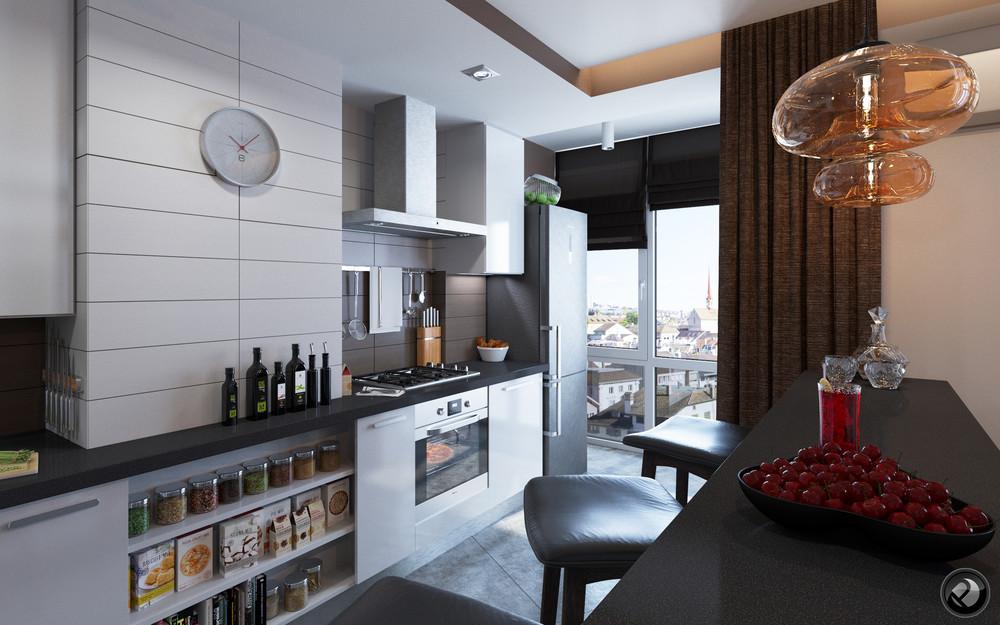 Интерьер маленькой квартиры в светлых тонах - кухня