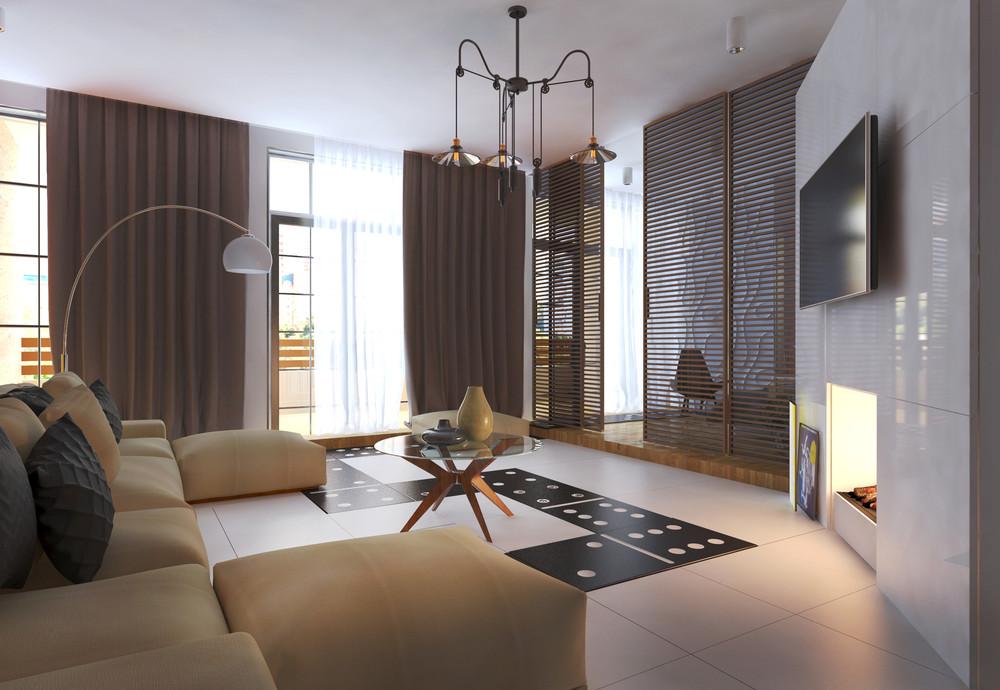 Интерьер маленькой квартиры в ярких тонах - интерьер гостиной