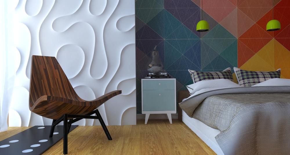 Интерьер маленькой квартиры в ярких тонах - спальня