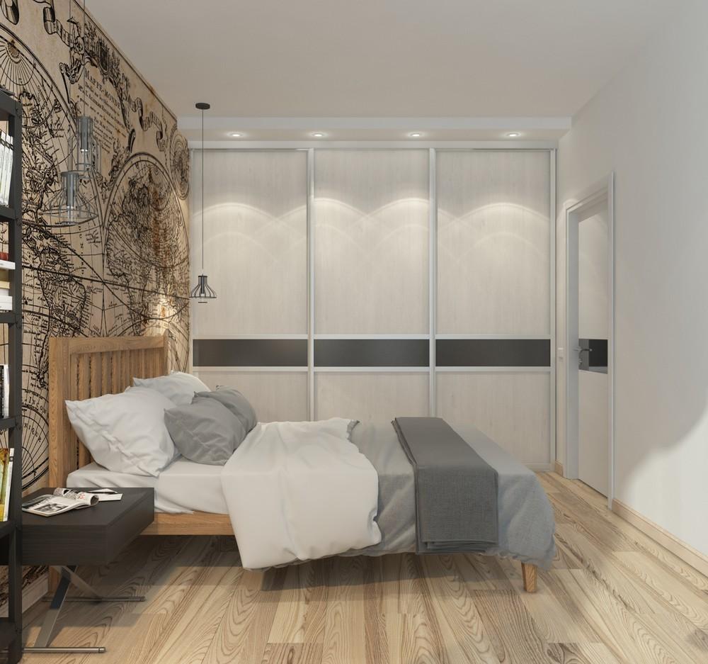 Интерьер маленькой квартиры в серых тонах - интерьер спальни