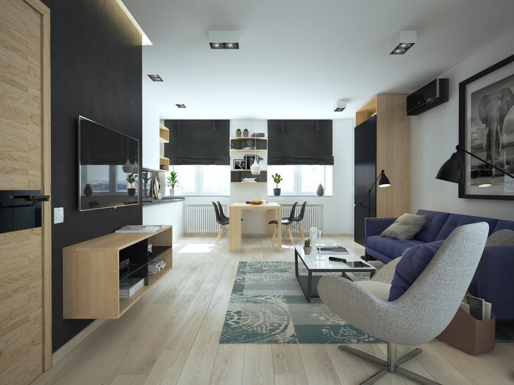 Интерьер маленькой квартиры в контрастных тонах - гостиная и столовая
