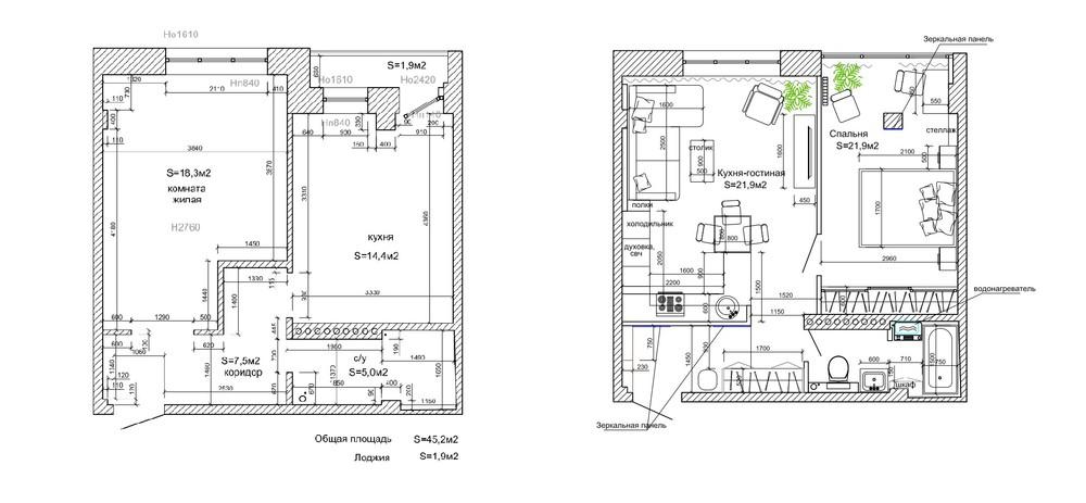 Интерьер маленькой квартиры в серых тонах - планировка