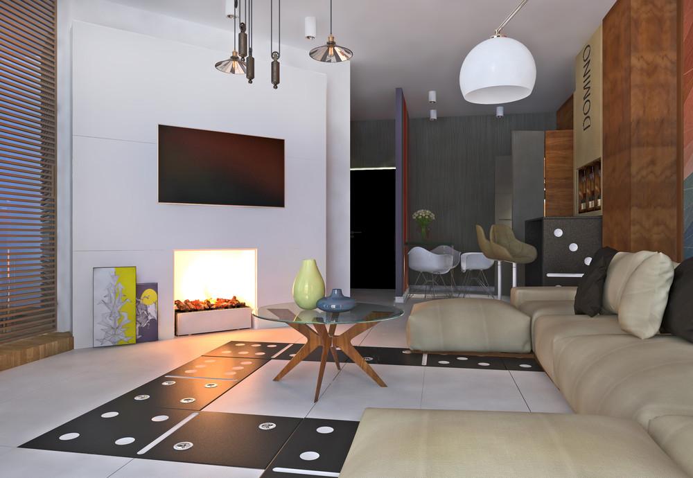 Интерьер маленькой квартиры в ярких тонах - гостиная с камином