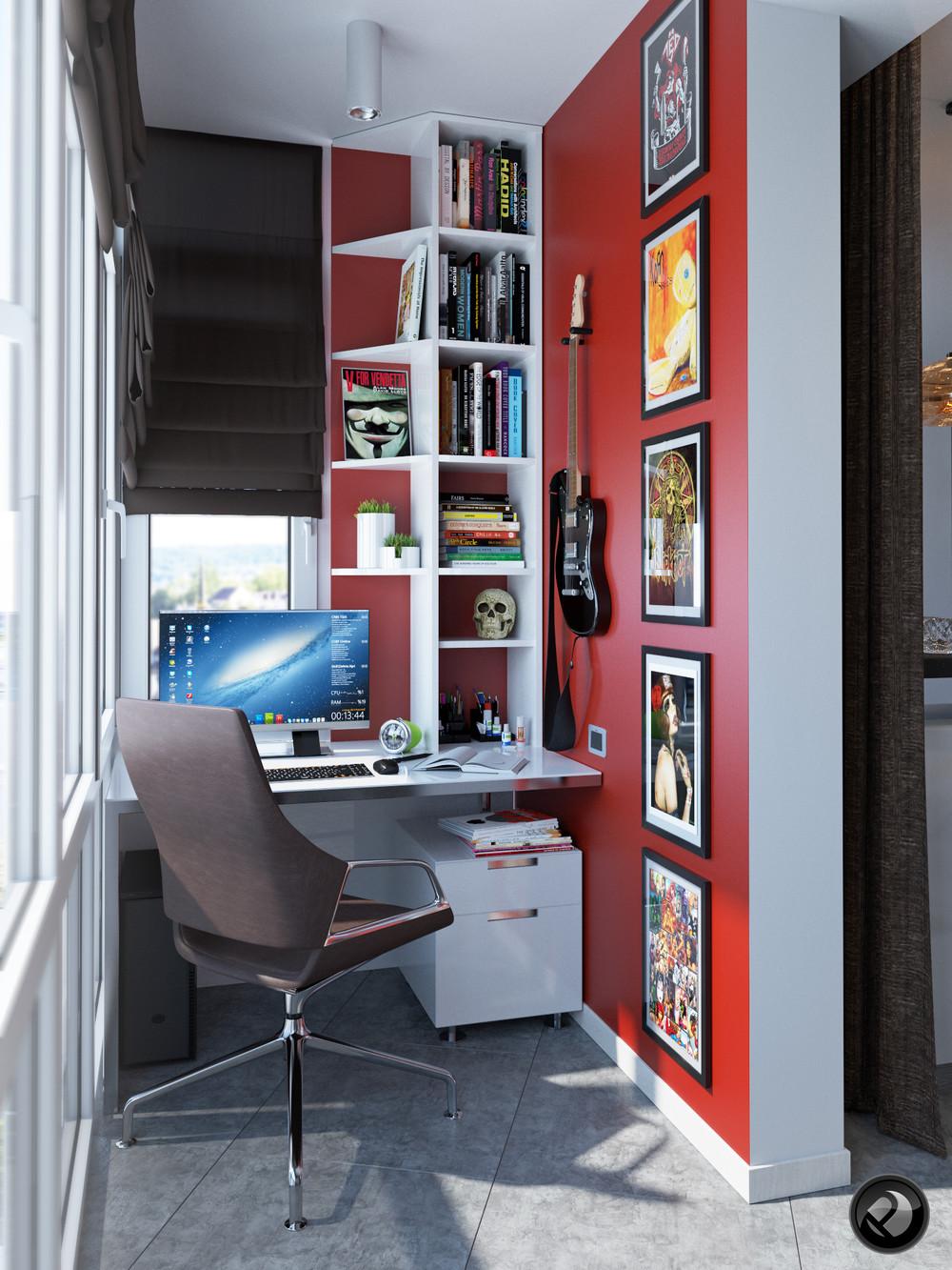 Интерьер маленькой квартиры в светлых тонах - кабинет