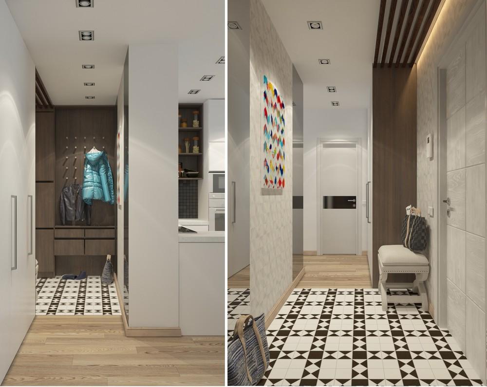 Интерьер маленькой квартиры в серых тонах - коридор