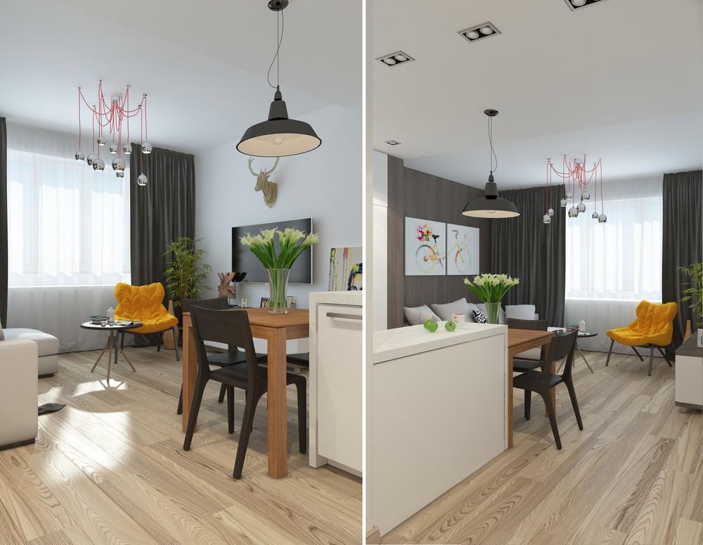 Интерьер маленькой квартиры в серых тонах - столовая