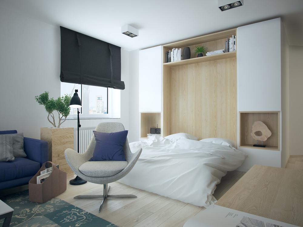 Интерьер маленькой квартиры в контрастных тонах - спальня