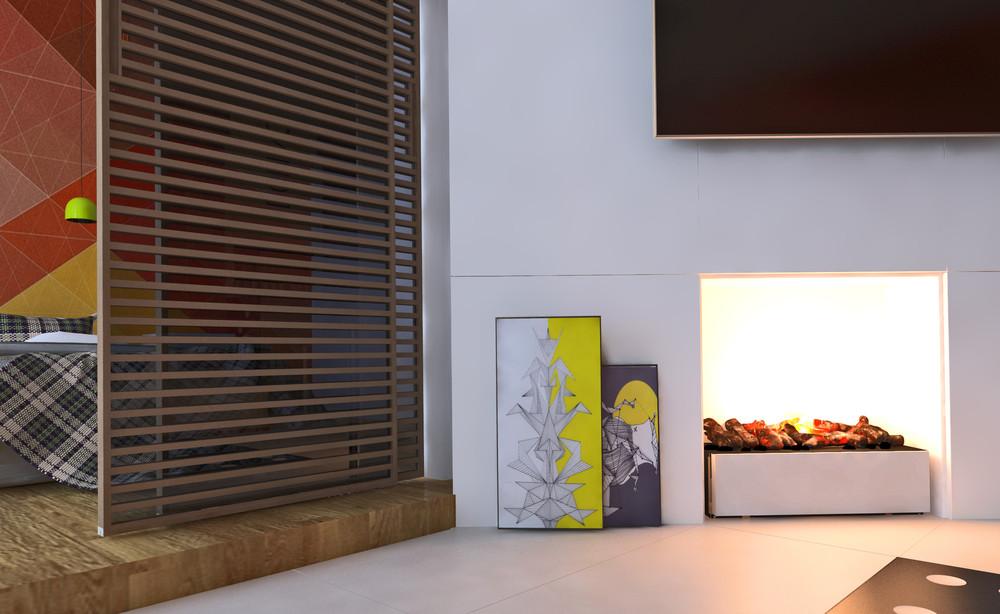 Интерьер маленькой квартиры в ярких тонах - камин