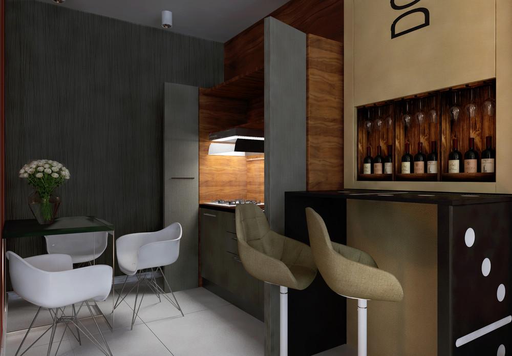 Интерьер маленькой квартиры в ярких тонах - кухня
