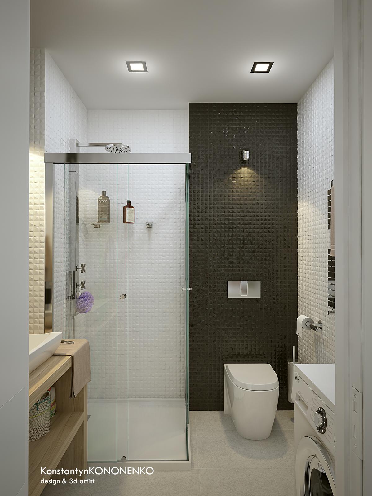 Интерьер маленькой квартиры в контрастных тонах - санузел