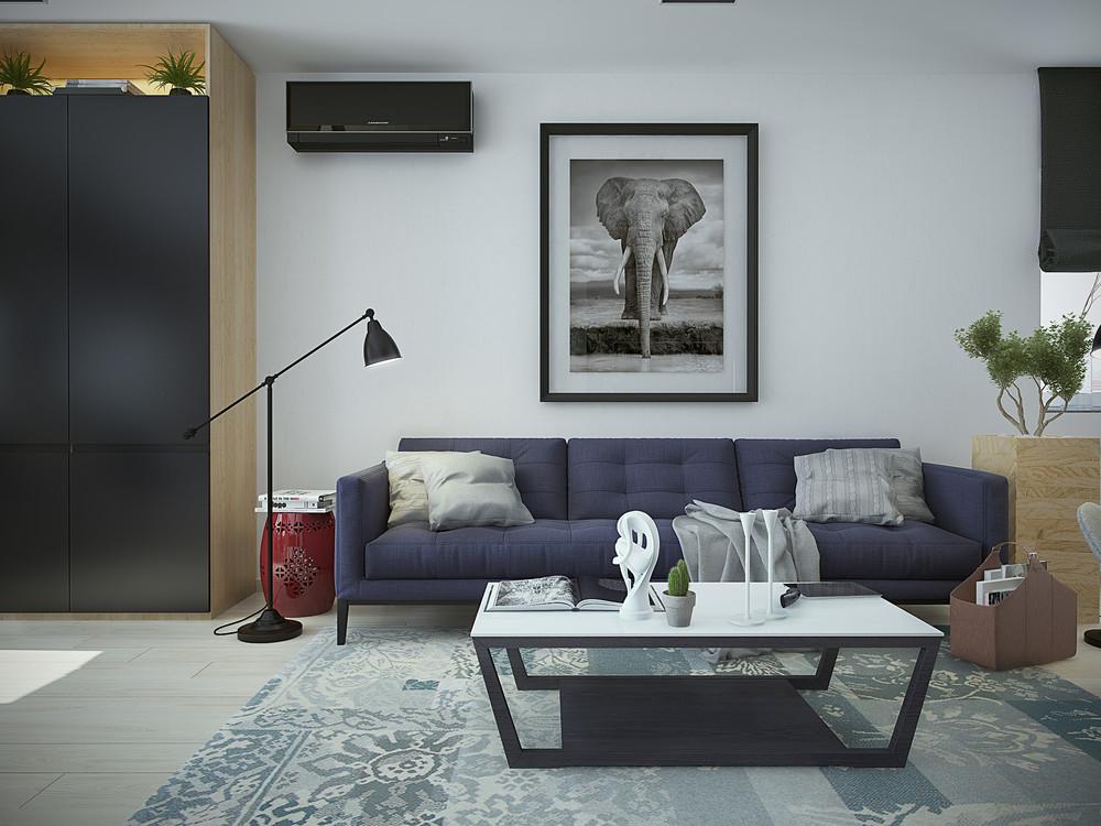 Интерьер маленькой квартиры в контрастных тонах