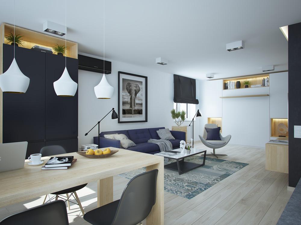 Интерьер маленькой квартиры в контрастных тонах - гостиная