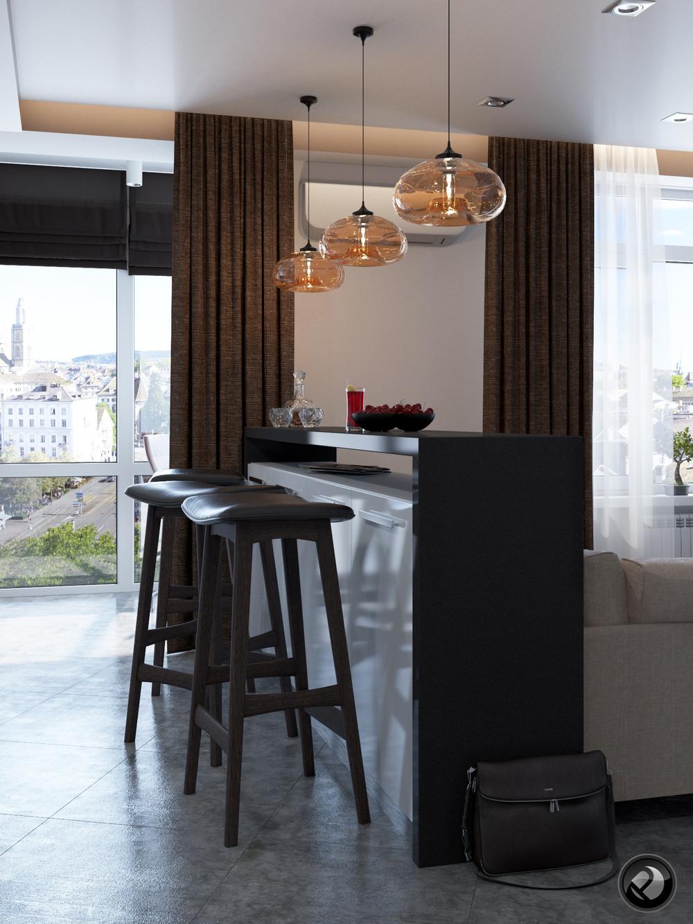 Интерьер маленькой квартиры в светлых тонах - барная стойка