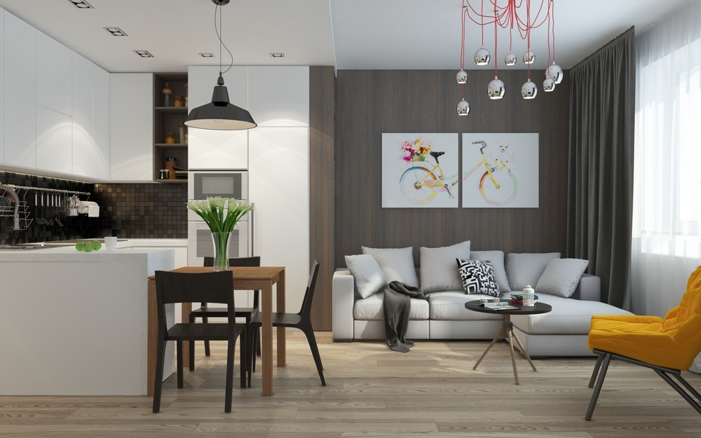 Интерьер маленькой квартиры в серых тонах - гостиная и кухня