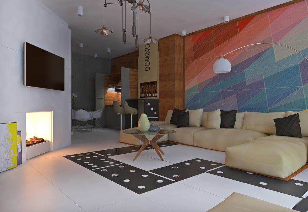Интерьер маленькой квартиры в ярких тонах - гостиная