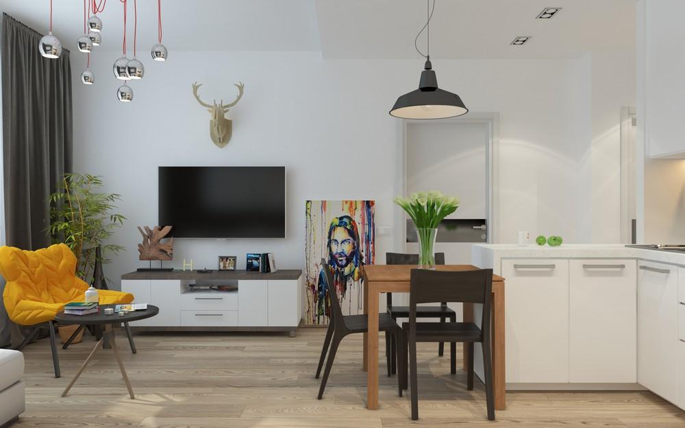Интерьер маленькой квартиры в серых тонах - гостиная