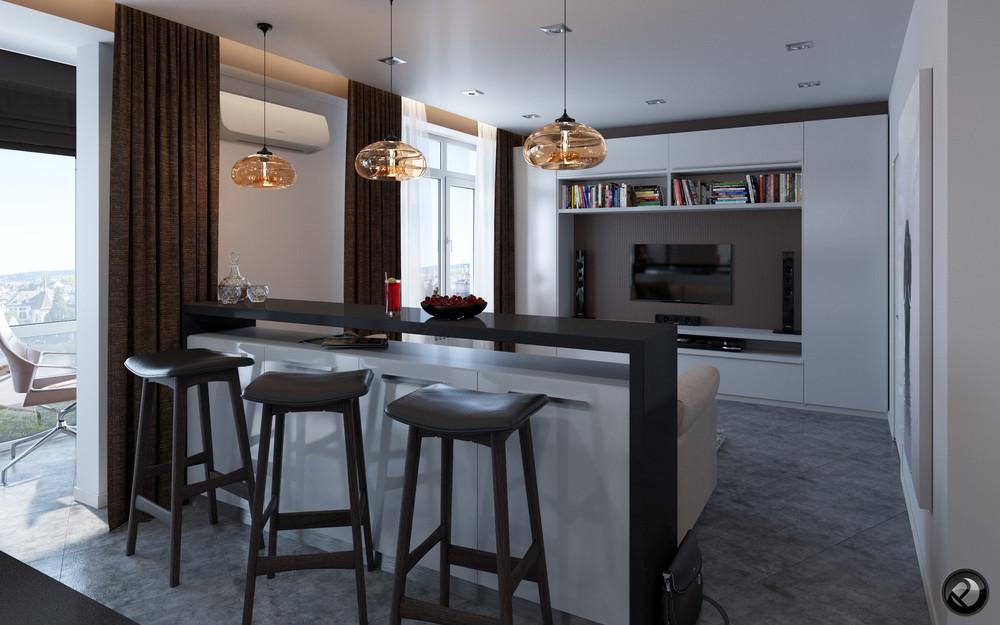 Интерьер маленькой квартиры в светлых тонах - гостиная