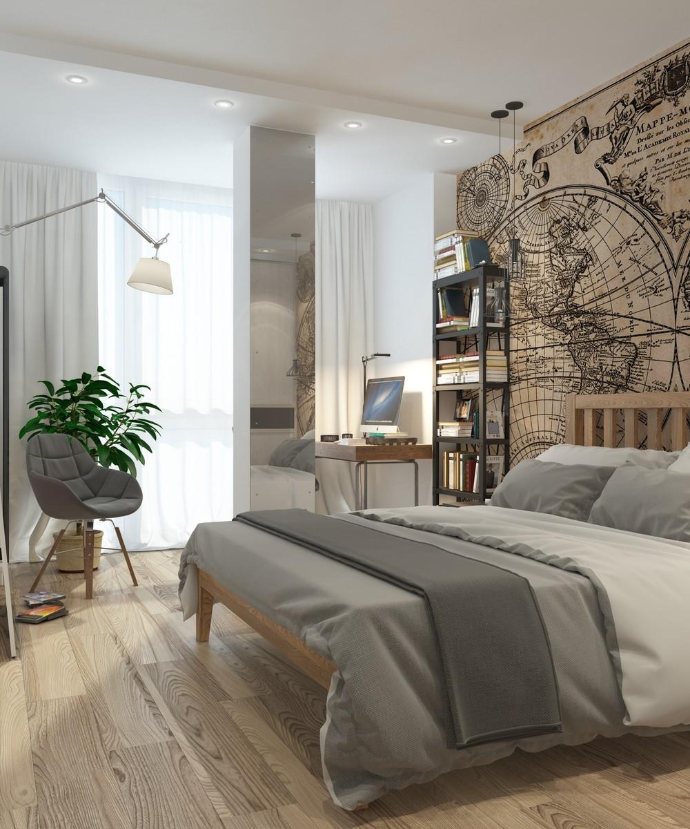 Интерьер маленькой квартиры в серых тонах - спальня
