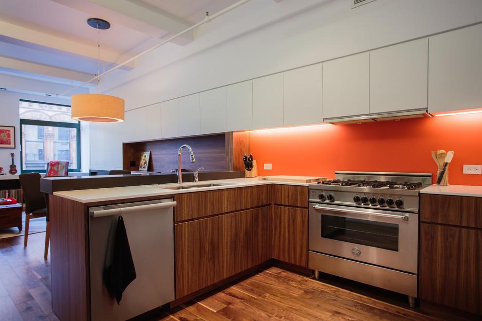 Кухня стильного дуплекса на Манхеттене