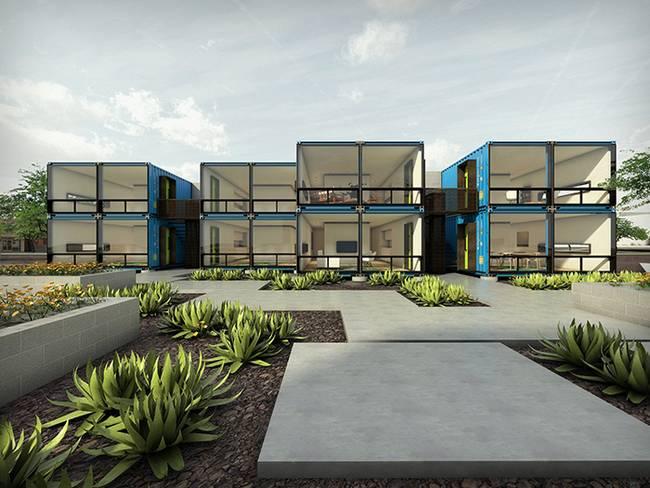 Строительство домов из контейнеров в США. Фасад жилья