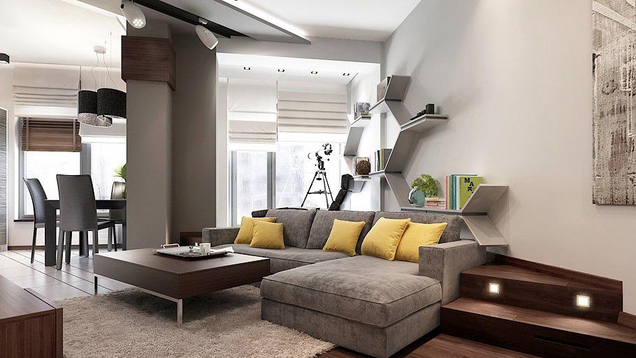 Интерьер строгой гостиной в мужской квартире