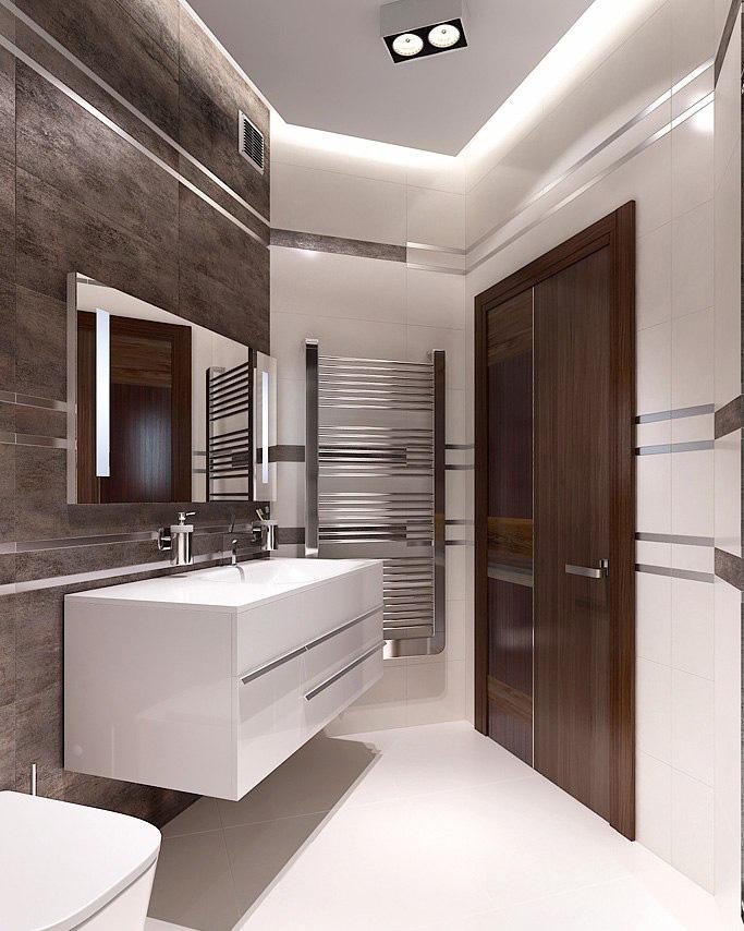 Интерьер строгой ванной в мужской квартире