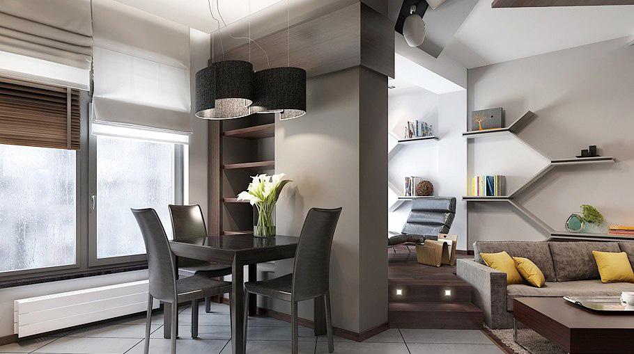 Интерьер строгой столовой в мужской квартире