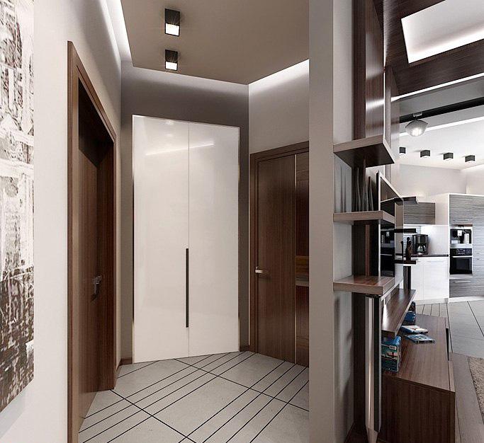 Интерьер строгой прихожей в мужской квартире