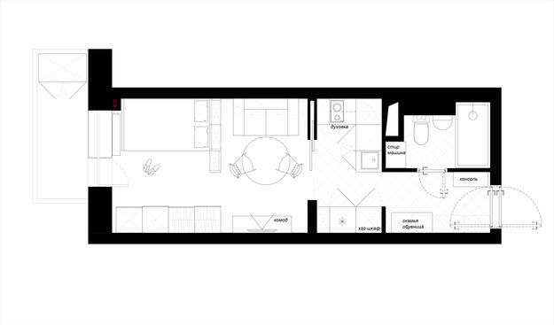 Расстановка мебели в небольшой квартире-студии