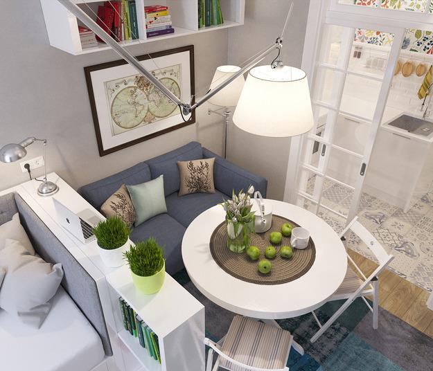 Многоуровневое освещение в квартире-студии