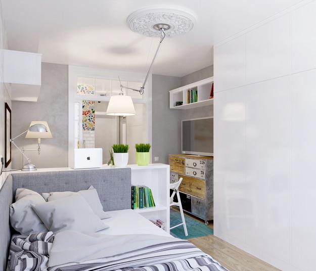 Зелёные акценты в белой квартире-студии