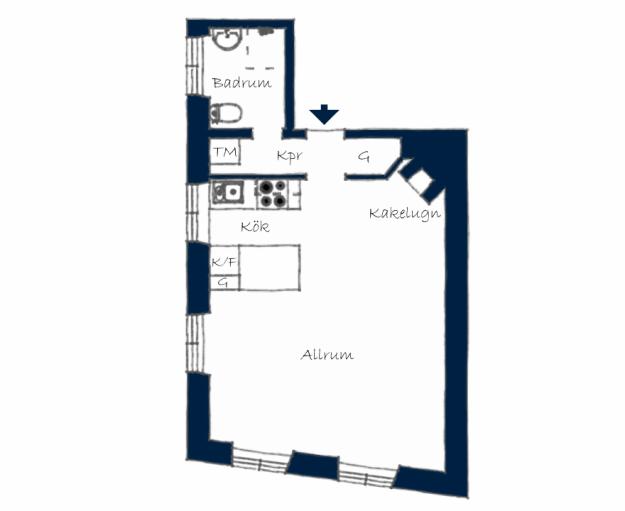 Планировка квартиры-студии в Стокгольме
