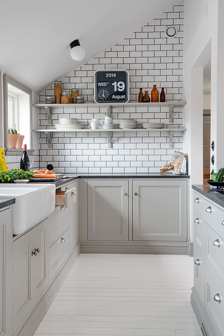 Интерьер маленькой кухни в скандинавском стиле