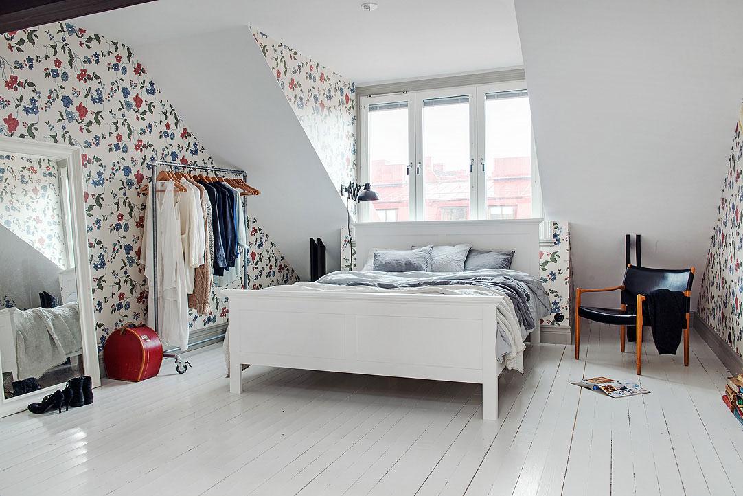 Интерьер спальни комнаты в скандинавском стиле
